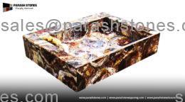 Petrified wood square basin