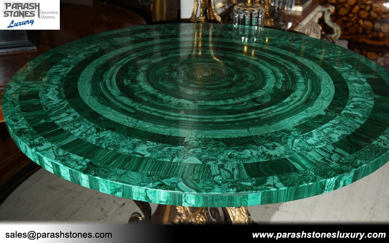 Malachite Green Tiles Slabs on Fill In Table