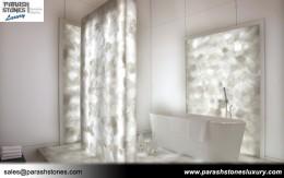 White Quartz Bathroom Splash