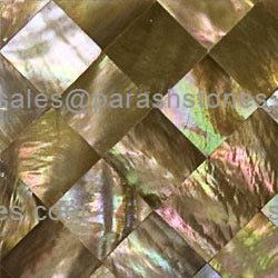 picture of brown river shell mosaic tiles, slab & surface in brick pattern