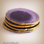 Purple agate golden coasters
