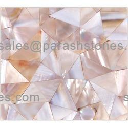 picture of pink river shell tiles, slab & surface in random pattern