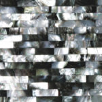 picture of mother of pearl black grey surface, tiles & slab in brick pattern