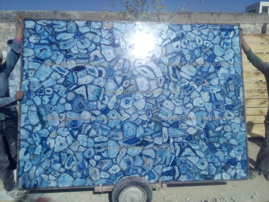 Blue Agate Large Slab Manufactured For A Elevator Project