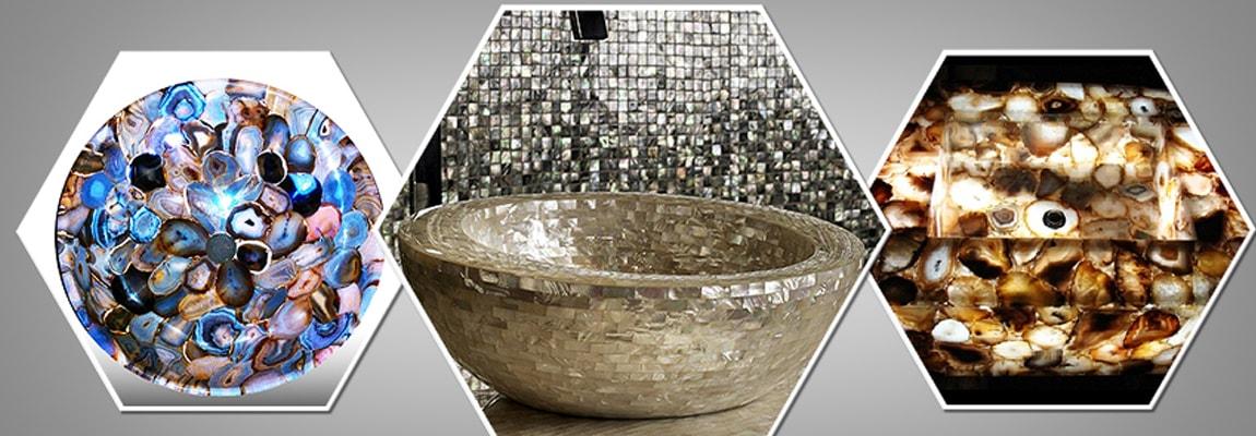 Semi Precious Gemstone Wash Basin & Sink Collection