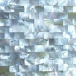picture of mother of pearl slab,mosaic tiles & surface in brick pattern