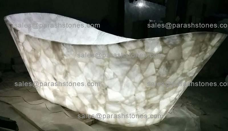 Semi Precious Gemstone Bath Tub Luxury In Quartz Agate