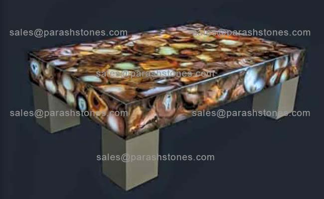 Picture Of Multi Colour Agate Centre Table/coffee Table