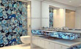 Blue Agate Bathroom Wall Backsplash Vanity Top Manufacturer