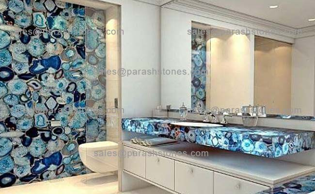 Blue Agate Bathroom Wall Backsplash Vanity Top Manufacturer