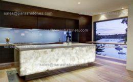 White quartz backlit countertop