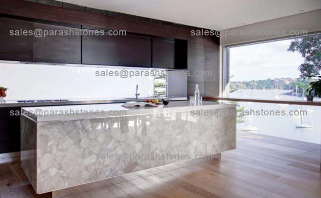 White Quartz Translucent Countertop Backsplash Slab