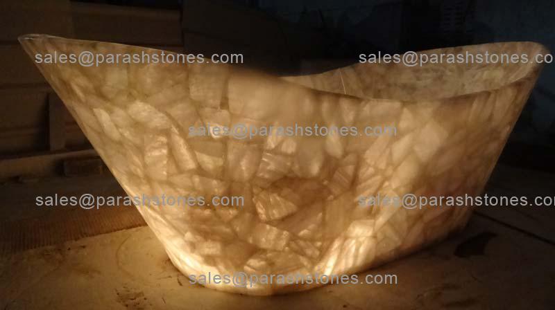 semi precious gemstone bath tub - luxury bath tub in quartz agate