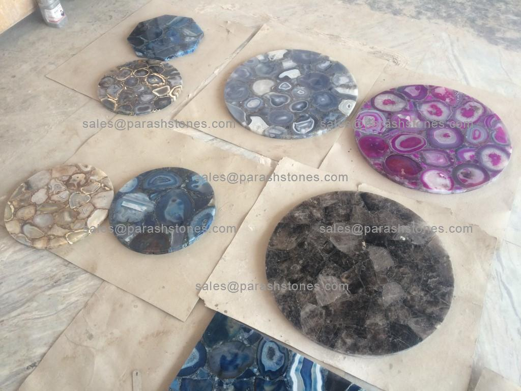 Round Agate Table Top In Blue Agate Pink Black Amp Golden